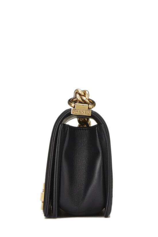 Black Quilted Lambskin Boy Bag Small, , large image number 3