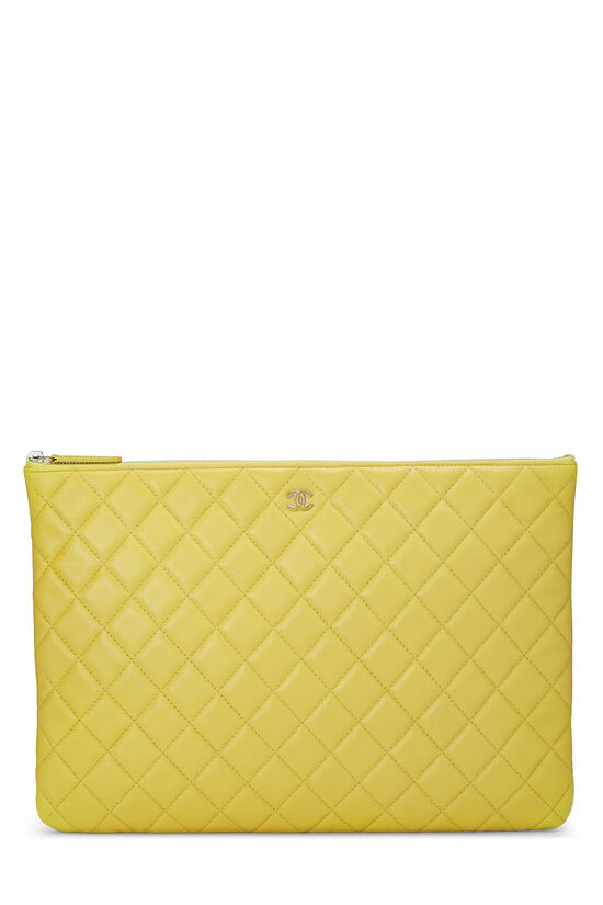 Yellow Quilted Lambskin Pouch, , large image number 0