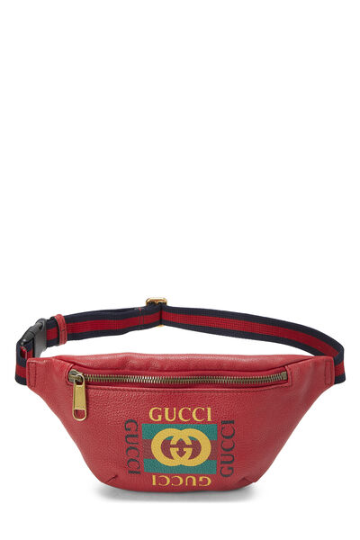 Red Leather Logo Belt Bag Small