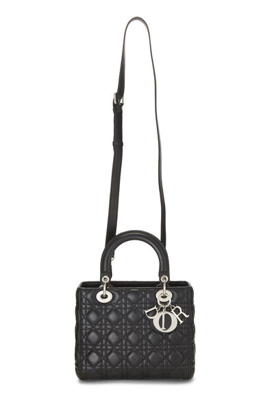 Black Cannage Quilted Lambskin Lady Dior Medium, , large