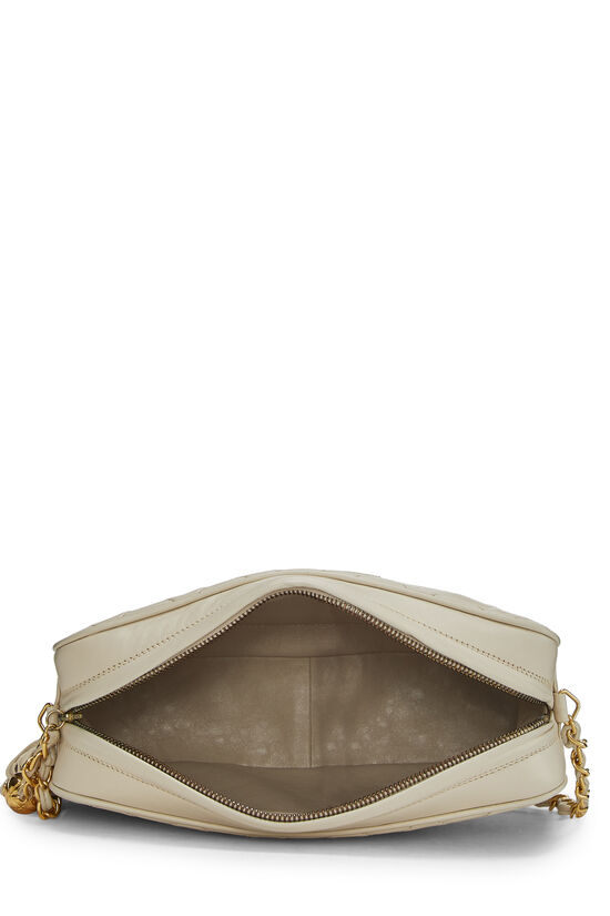 Cream Quilted Lambskin 'CC' Camera Bag Large, , large image number 6