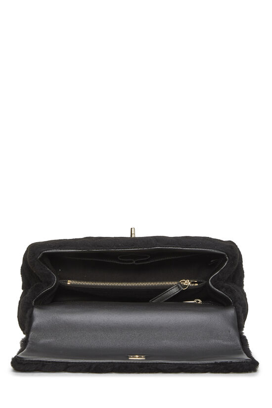 Black Chevron Shearling Coco Handle Bag, , large image number 6