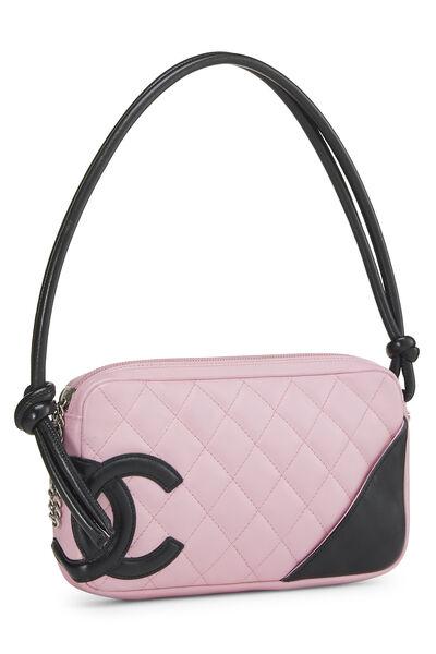 Pink Quilted Calfskin Cambon Ligne Pochette, , large