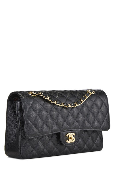 Black Quilted Caviar Classic Double Flap Medium, , large