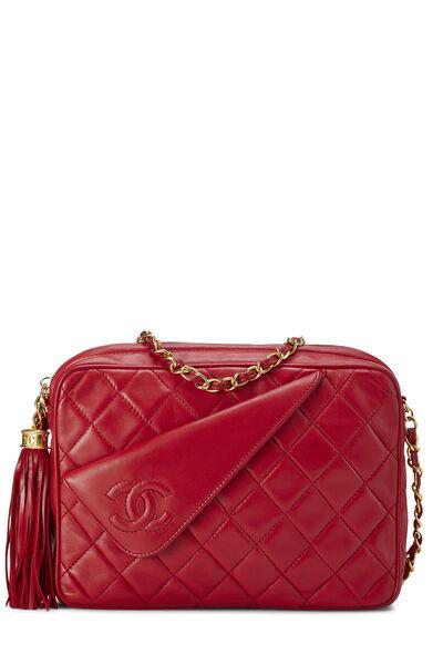 Red Diagonal Lambskin 'CC' Camera Bag Medium