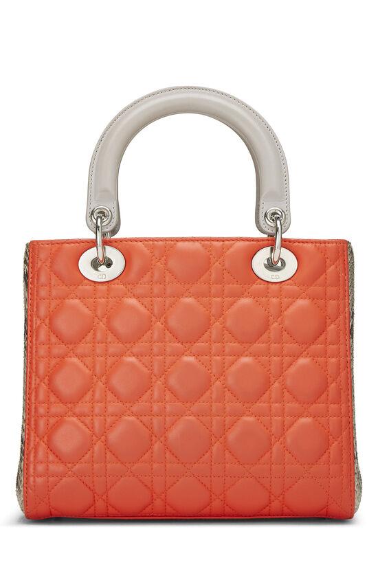 Orange Cannage Quilted Lambskin & Python Lady Dior Medium, , large image number 3