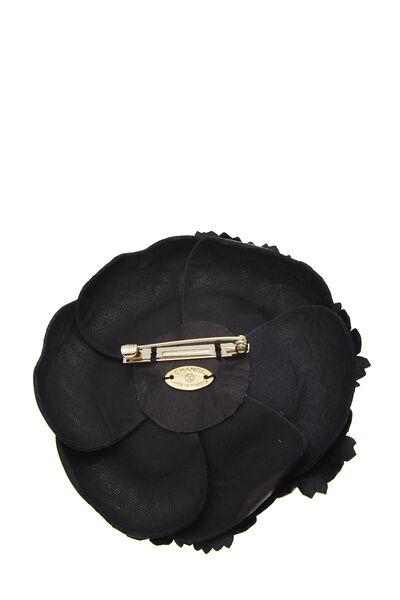 Black Leather Camellia Brooch, , large