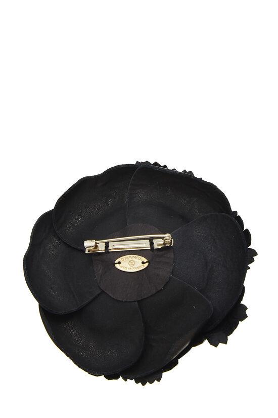Black Leather Camellia Brooch, , large image number 1