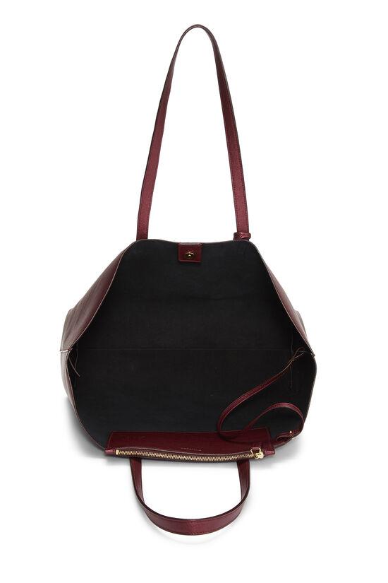 Metallic Burgundy Leather Shopping Bag East/West, , large image number 5