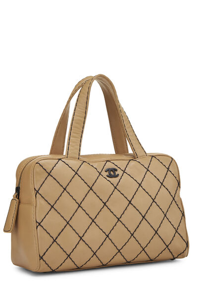 Beige Leather Wild Stitch Boston Bag, , large