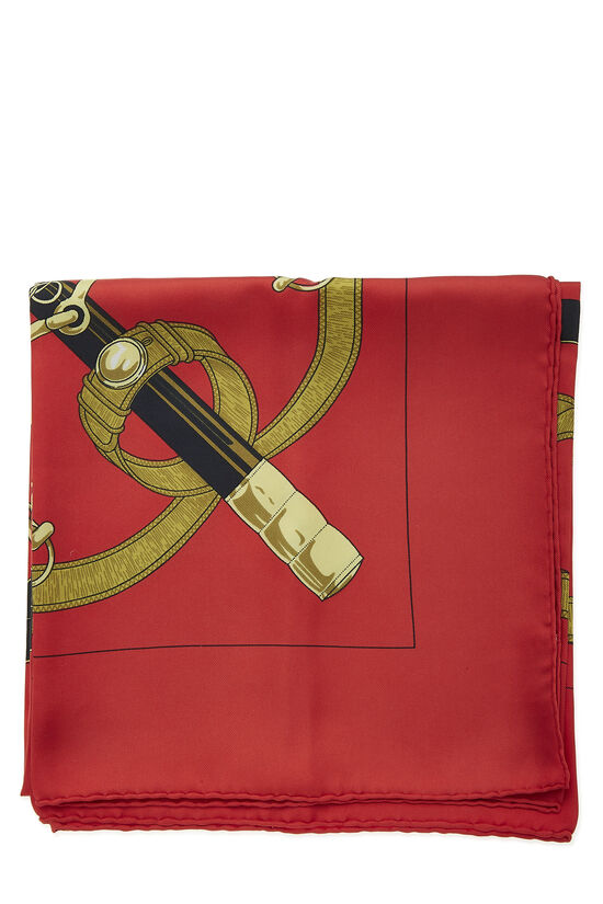 Red & Multicolor 'Eperon d'Or' Silk Scarf 90, , large image number 1