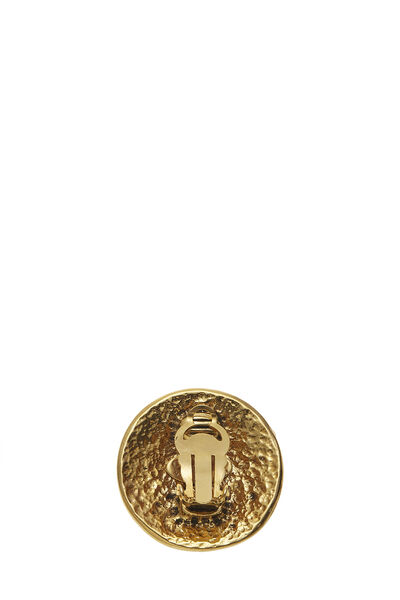 Gold Round 'CC' Earrings Large, , large