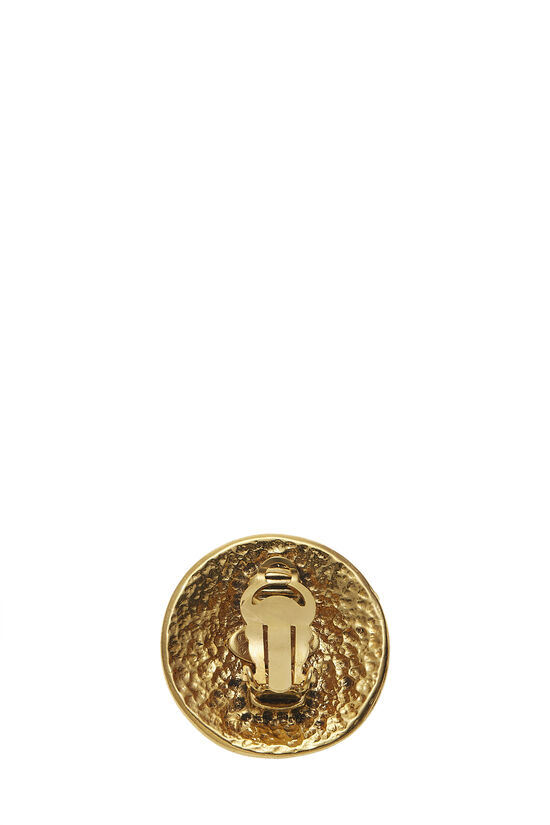 Gold Round 'CC' Earrings Large, , large image number 1