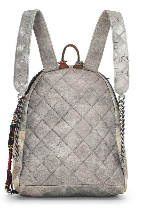 Grey Canvas Graffiti Backpack, , large image number 3