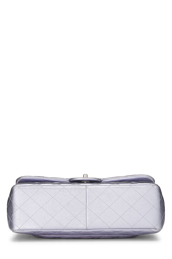 Metallic Purple Quilted Lambskin New Classic Double Flap Jumbo, , large image number 4