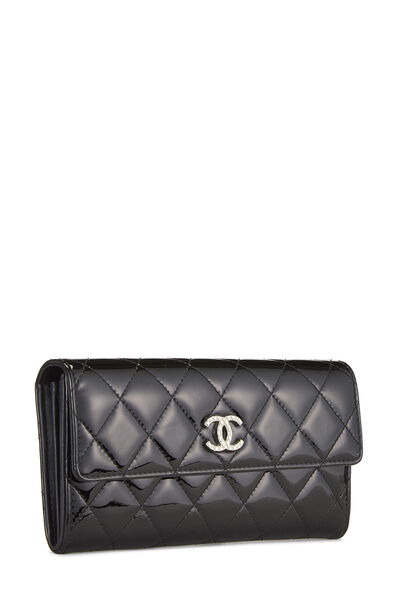 Black Quilted Patent Leather Flap Wallet, , large