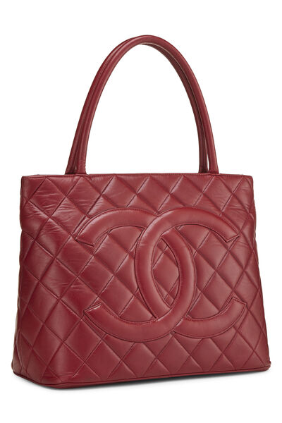 Red Quilted Lambskin Medallion Tote, , large