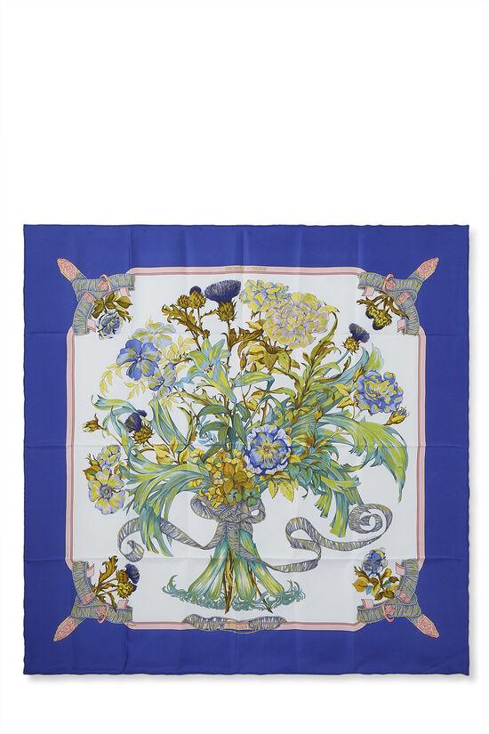 Blue & Multicolor 'Regina' Silk Scarf 90, , large image number 0
