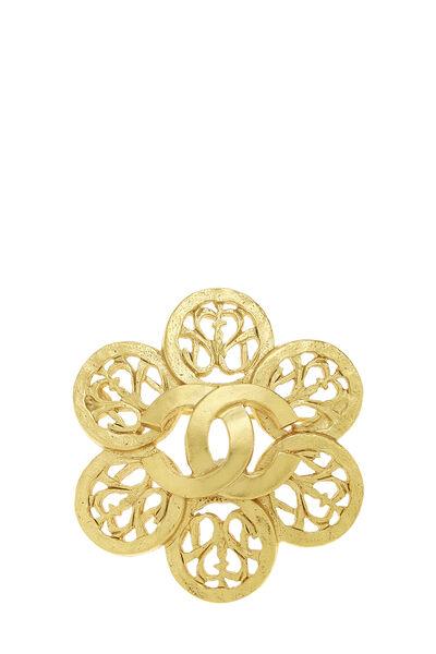 Gold 'CC' Floral Cutwork Pin