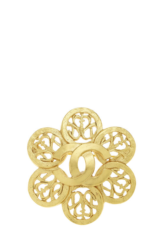 Gold 'CC' Floral Cutwork Pin, , large image number 0