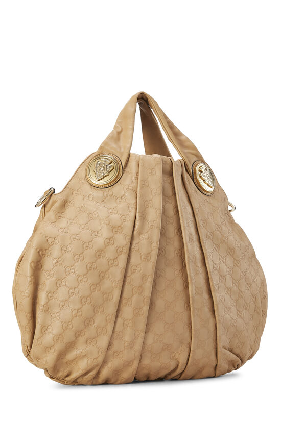 Beige Gucci Signature Leather Hysteria Convertible Tote Large, , large image number 2