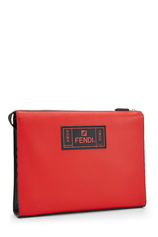 Black & Red Leather Fiend Clutch, , large image number 1