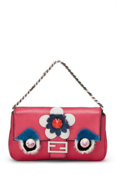 Pink Nappa Leather Monster Baguette Micro