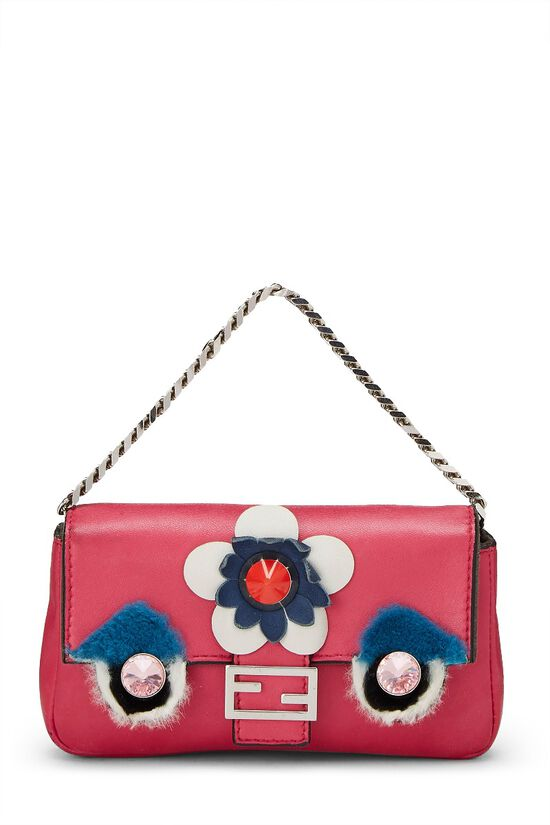 Pink Nappa Leather Monster Baguette Micro, , large image number 0