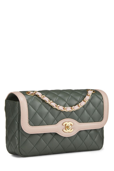Green & Pink Quilted Lambskin Two Tone Flap Bag Small, , large