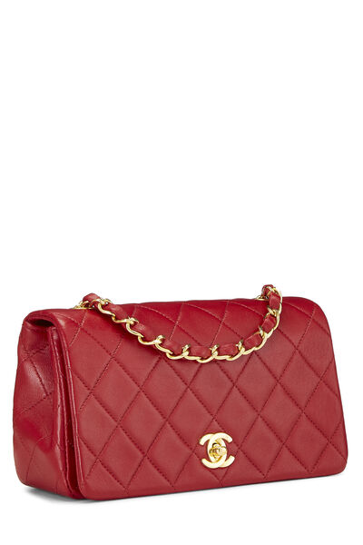 Red Quilted Lambskin Full Flap Mini, , large