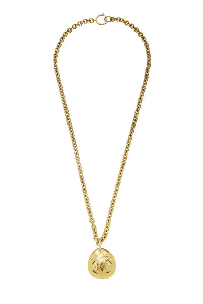 Gold Quilted 'CC' Necklace Long