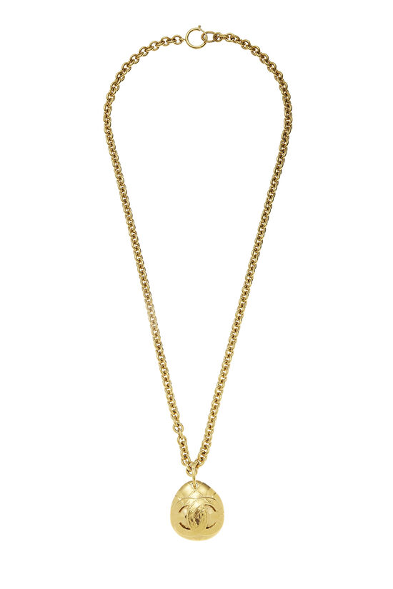 Gold Quilted 'CC' Necklace Long, , large image number 0