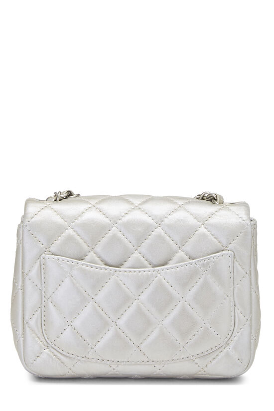 Metallic Silver Quilted Lambskin Classic Square Flap Mini, , large image number 3