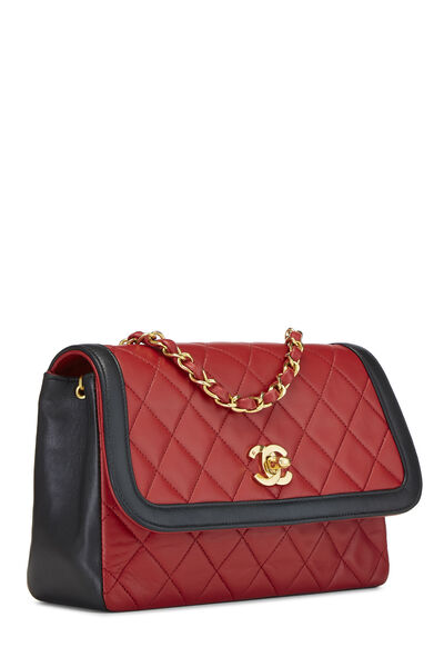Red & Black Quilted Lambskin Curved Flap Small, , large