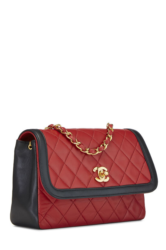 Red & Black Quilted Lambskin Curved Flap Small, , large image number 1