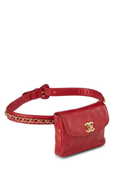 Red Quilted Lambskin Chain Belt Bag Small, , large