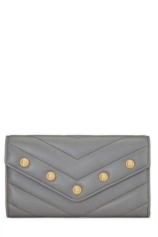 Grey Chevron Lambskin Envelope Wallet, , large image number 0