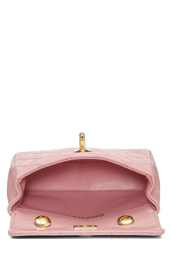 Pink Quilted Lambskin Half Flap Micro, , large image number 5