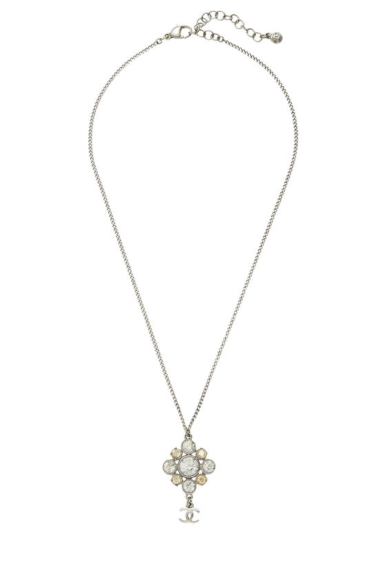 Silver & Crystal Cluster Necklace, , large image number 0