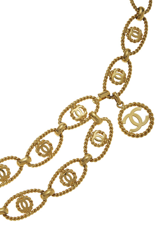Gold Oval 'CC' Chain Belt, , large image number 1