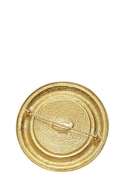 Gold Rue Cambon Engraved Pin, , large