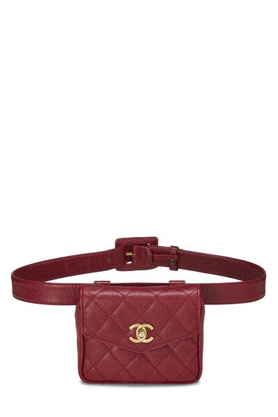 Red Quilted Caviar Envelope Belt Bag
