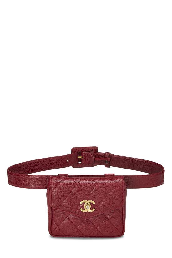 Red Quilted Caviar Envelope Belt Bag, , large image number 0