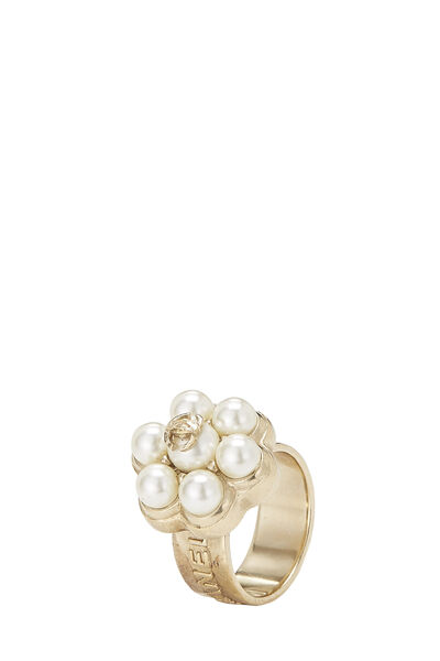 Gold & Faux Pearl Flower Ring