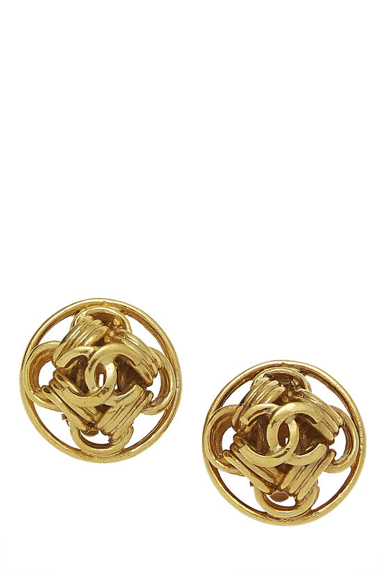 Gold CC Round Chain Earrings, , large image number 0