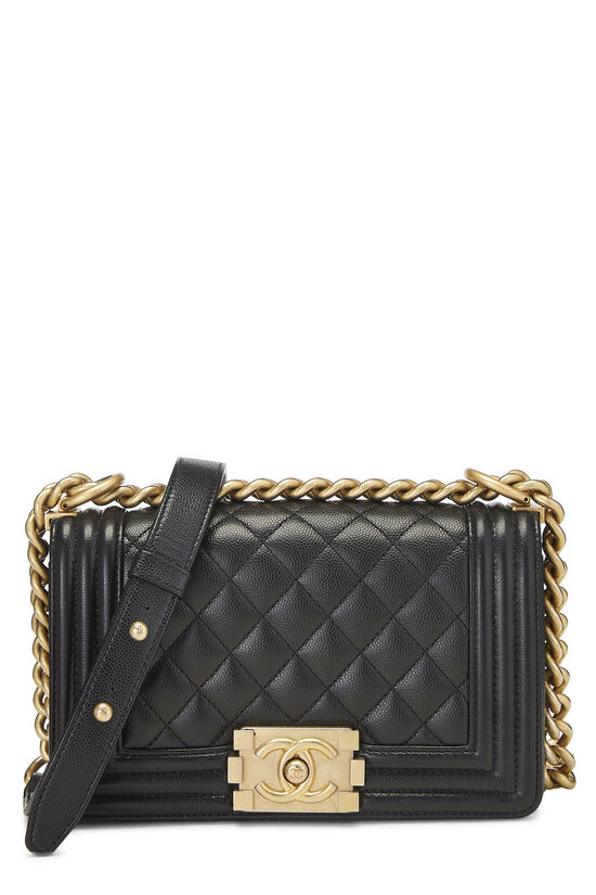 Black Quilted Caviar Boy Bag Small, , large image number 0