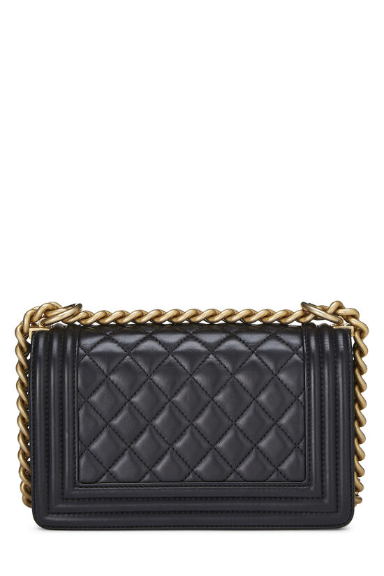 Black Quilted Lambskin Boy Bag Small, , large image number 4
