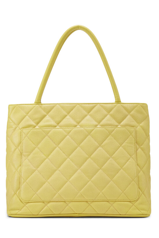 Yellow Quilted Caviar Medallion Tote, , large image number 3