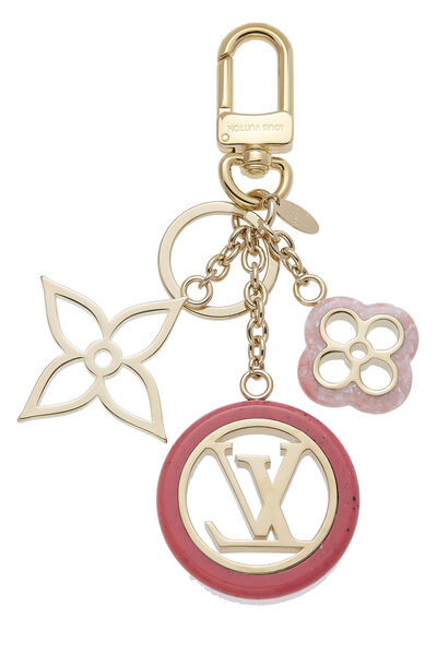 Pink & Gold Fleur De Monogram Bag Charm, , large