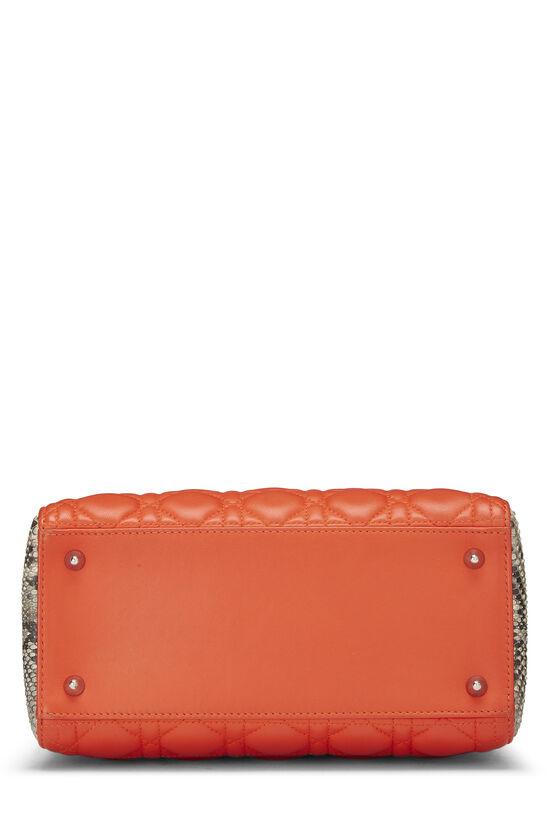 Orange Cannage Quilted Lambskin & Python Lady Dior Medium, , large image number 4